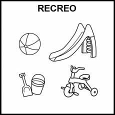 RECREO (JUGUETES) - Pictograma (blanco y negro)