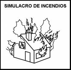 SIMULACRO DE INCENDIOS - Pictograma (blanco y negro)