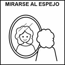MIRARSE AL ESPEJO - Pictograma (blanco y negro)