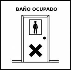 BAÑO OCUPADO - Pictograma (blanco y negro)