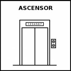 ASCENSOR - Pictograma (blanco y negro)