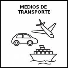 MEDIOS DE TRANSPORTE - Pictograma (blanco y negro)
