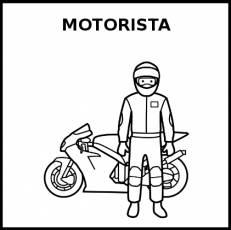 MOTORISTA - Pictograma (blanco y negro)