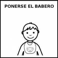 PONERSE EL BABERO - Pictograma (blanco y negro)