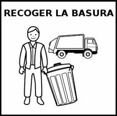 RECOGER LA BASURA - Pictograma (blanco y negro)