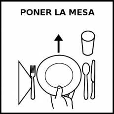 PONER LA MESA - Pictograma (blanco y negro)