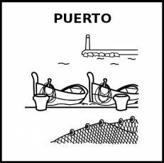 PUERTO (DE MAR) - Pictograma (blanco y negro)