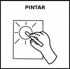 PINTAR (PINTURAS) - Pictograma (blanco y negro)