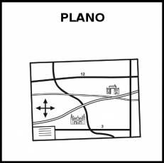 PLANO (MAPA) - Pictograma (blanco y negro)