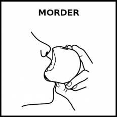 MORDER (ALIMENTO) - Pictograma (blanco y negro)