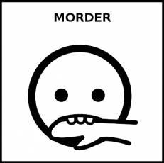 MORDER (AGRESIÓN) - Pictograma (blanco y negro)