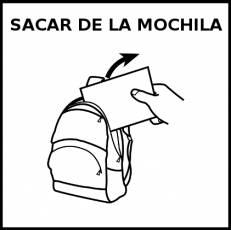 SACAR DE LA MOCHILA - Pictograma (blanco y negro)