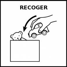 RECOGER - Pictograma (blanco y negro)