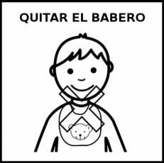 QUITARSE EL BABERO - Pictograma (blanco y negro)