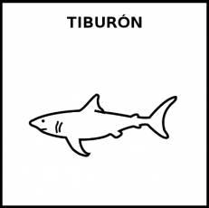 TIBURÓN (ANIMAL) - Pictograma (blanco y negro)