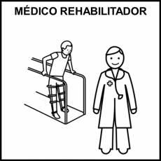 MÉDICO REHABILITADOR - Pictograma (blanco y negro)