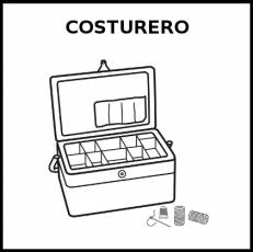 COSTURERO - Pictograma (blanco y negro)