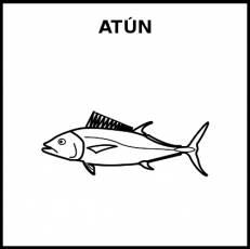 ATÚN (ANIMAL) - Pictograma (blanco y negro)