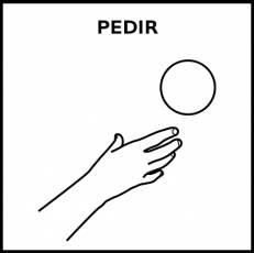 PEDIR - Pictograma (blanco y negro)