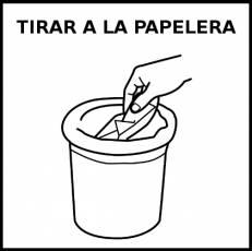 TIRAR A LA PAPELERA - Pictograma (blanco y negro)