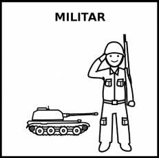 MILITAR (HOMBRE) - Pictograma (blanco y negro)