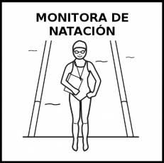 MONITORA DE NATACIÓN - Pictograma (blanco y negro)