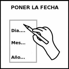 PONER LA FECHA - Pictograma (blanco y negro)