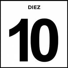 NÚMERO 10 (CIFRA) - Pictograma (blanco y negro)