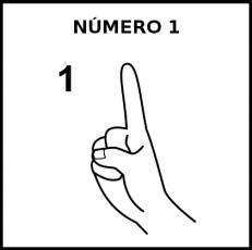 NÚMERO 1 (DEDOS) - Pictograma (blanco y negro)