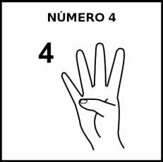 NÚMERO 4 (DEDOS) - Pictograma (blanco y negro)