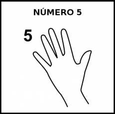 NÚMERO 5 (DEDOS) - Pictograma (blanco y negro)