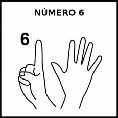 NÚMERO 6 (DEDOS) - Pictograma (blanco y negro)