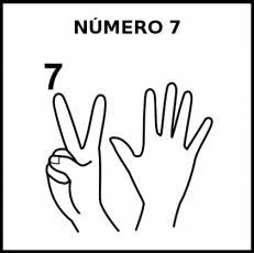 NÚMERO 7 (DEDOS) - Pictograma (blanco y negro)
