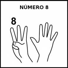 NÚMERO 8 (DEDOS) - Pictograma (blanco y negro)