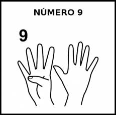 NÚMERO 9 (DEDOS) - Pictograma (blanco y negro)