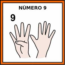 NÚMERO 9 (DEDOS) - Pictograma (color)