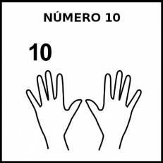 NÚMERO 10 (DEDOS) - Pictograma (blanco y negro)