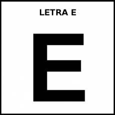 LETRA E (MAYÚSCULA) - Pictograma (blanco y negro)