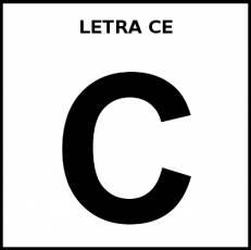 LETRA CE (MAYÚSCULA) - Pictograma (blanco y negro)