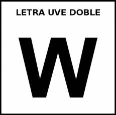 LETRA UVE DOBLE (MAYÚSCULA) - Pictograma (blanco y negro)