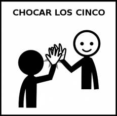 CHOCAR LOS CINCO - Pictograma (blanco y negro)