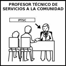 PROFESOR TÉCNICO DE SERVICIOS A LA COMUNIDAD - Pictograma (blanco y negro)