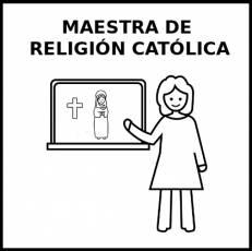 MAESTRA DE RELIGIÓN CATÓLICA - Pictograma (blanco y negro)