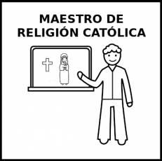 MAESTRO DE RELIGIÓN CATÓLICA - Pictograma (blanco y negro)