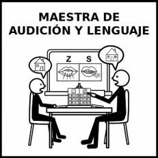 MAESTRA DE AUDICIÓN Y LENGUAJE - Pictograma (blanco y negro)