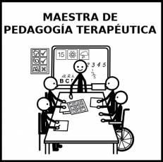 MAESTRA DE PEDAGOGÍA TERAPÉUTICA - Pictograma (blanco y negro)