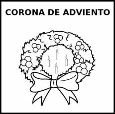 CORONA DE ADVIENTO - Pictograma (blanco y negro)