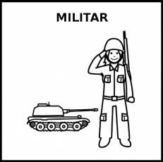 MILITAR (MUJER) - Pictograma (blanco y negro)