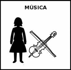 MÚSICA (MUJER) - Pictograma (blanco y negro)