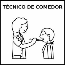 TÉCNICO DE COMEDOR (MUJER) - Pictograma (blanco y negro)